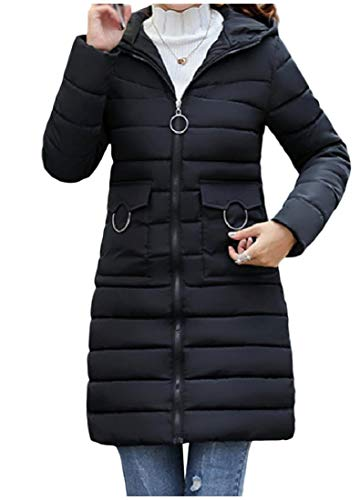 with Coat Howme Winter Women Fit Down Black Coat Long Hood Zip Mid Jacket Trim vwTr7vqY