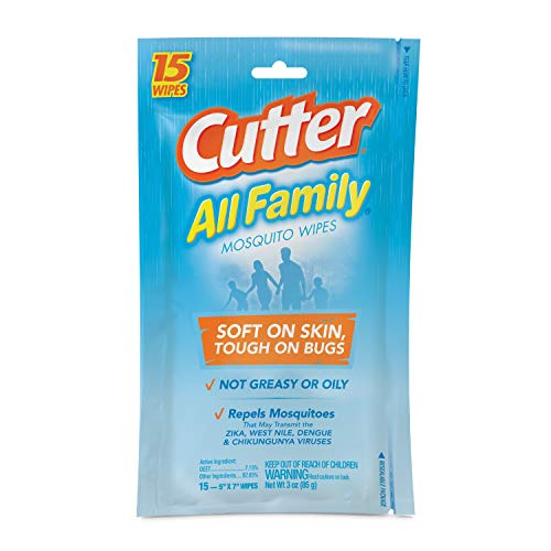 Cutter All Family Mosquito Wipes, 15-Count, 12-Pack (Best Mosquito Repellent For Cambodia)
