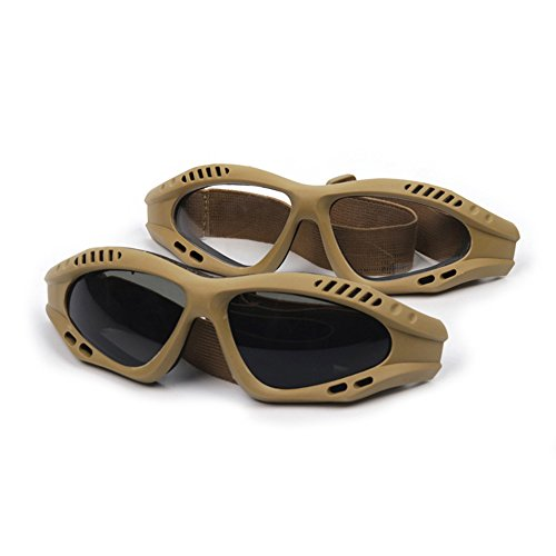 Military Glasses,Motorcycle Riding Tactical Protective Glasses Dust-proof Protective Sunglasses - 2 Pair Smoke & Clear - Proof Glasses