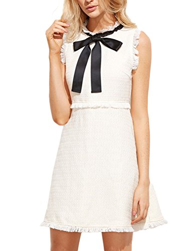 PERSUN Womens Elegant White Tweed Bow Tie Sleeveless Casual Formal Party Dress, X - Large Tweed Mini Dress