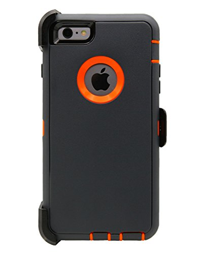 WallSkiN Turtle Series Cases for iPhone 6 Plus/iPhone 6S Plus (Only) Full Body Protection with Kickstand & Holster - Charcoal (Dark Grey/Orange)