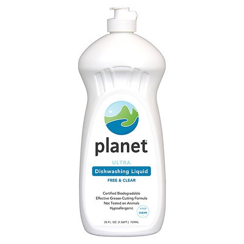 (Planet Ultra Dishwashing Liquid, Hypo-Allergenic, Free & Clear 25 oz -Pack 4)