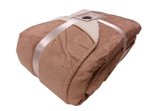 KOYOU Super Soft Camel Brown Plush Sherpa Borrego Blanket Throw Queen or Full Size Bed