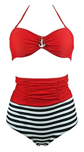 Cocoship-Red-Metallic-Anchor-Top-Nautical-Sailor-Stripe-Vintage-High-Waist-Bikini-Halter-Swimwear-XXLFBA