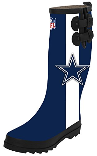 Dallas-Cowboys Women's Funny Graphic Waterproof Solid Tall Rain Boot Top Rain Knee High Boots Rainboots (9B(M) US)