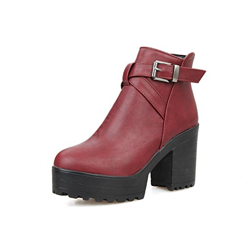 A Claret Boots Chunky amp;N Buckle Ladies Heels Platform Imitated Leather zqZwrzx