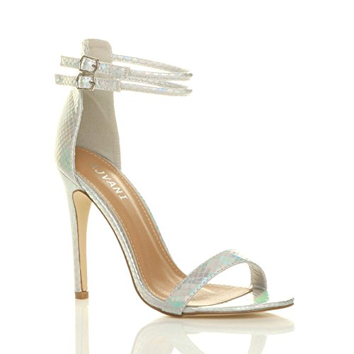Ajvani Strappy High Mermaid Barely Sandals Heel Silver There Shoes Women Size rqF5wCSr