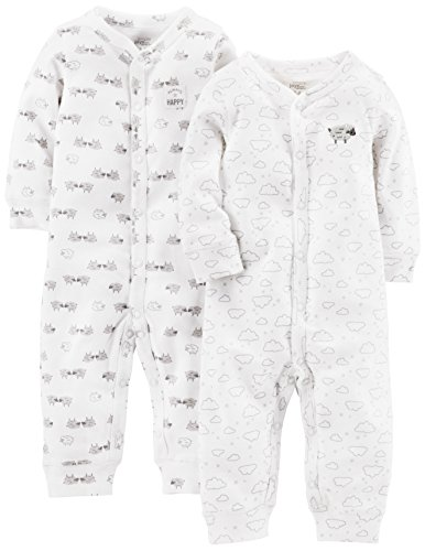 Simple Joys by Carter's Baby 2-Pack Neutral Cotton Footless Sleep and Play, White Lamb, Newborn