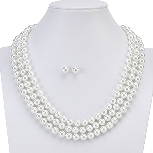 LEILE Hand Knotted Glass Imitation Pearls Necklace Bead diameter 8mm erring buckle 2 set (White 59in 02#) (Buckle Knotted)