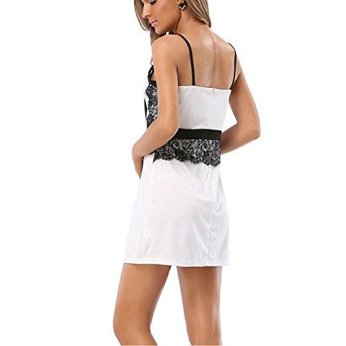 Creative Light- Femmes Halter Robe d'été Dentelle Sans bretelles Halter Sexy Harnais Pack Hanches Robe Une jupe Word (Couleur: Blanc)