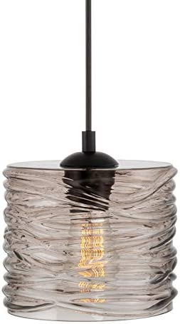 Kira Home Havana 7.5 Modern Pendant Light Wavy Glass Shade, Adjustable Height, Black Finish