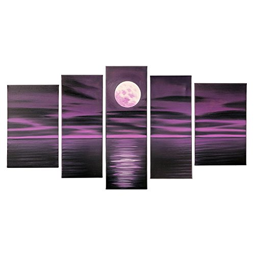 FLY SPRAY 5-Piece Oil Paintings Stretched Framed 100% Hand Painted Full Moon Hanging On The Dark Purple Sky And Sea Modern Abstract Wall Art Decor Of Home Decoration