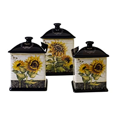 Certified International French Sunflowers 3-Piece Canister Set, 56-Ounce, 60-Ounce and 96-Ounce