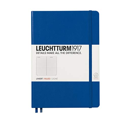 Leuchtturm1917 Medium A5 Ruled Hardcover Notebook (Royal Blue) - 249 Numbered Pages