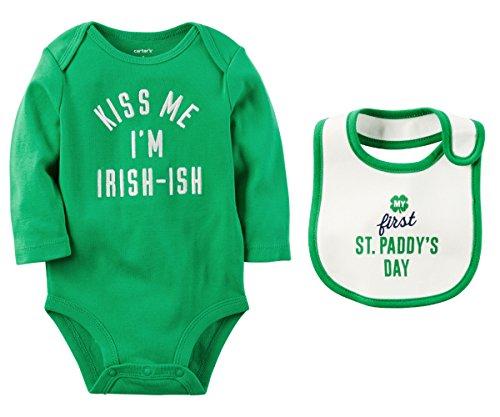 St Pattys Day Outfit (Carters Boys or Girls Babys First St Patricks Day Irish-ish Bodysuit and Bib Set (3 Months, Kiss Me Im Irish-ish))