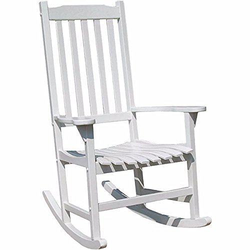 White Wood Indoor and outdoor Traditional Rocking Chair Includes Custom Mouse Pad by GEN.