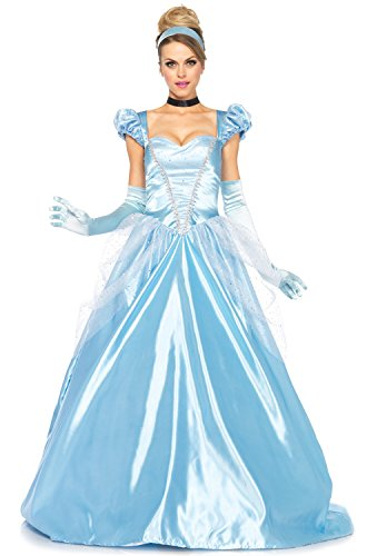 Leg Avenue 3Pc. Classic Cinderella Costume, Blue, (Adult Cinderella Dress)