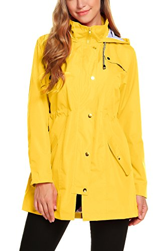 ZHENWEI Womens Lightweight Hooded Waterproof Active Outdoor Rain Jacket S-XXL (XXL, Yellow)