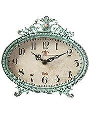 Creative Co-op Metal Rustic Retro Table Clock, 6.25-Inch, Aqua