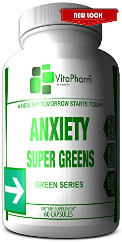 Anxiety Super Greens | Natural Anxiety & Stress Support Supplement.Fight Depression | Calm and Relaxing Mood. Supports Serotonin Increase. Promote Peaceful Sleep. Rescue Formula by VitaPharm