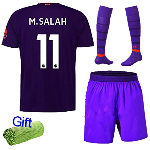 4 Away Soccer Jersey - FC FirstClass 2019 Football Soccer Club Outfits Short Sleeve Purple Away Kit for Kids 3-12 Years Sportwear with Socks and Free Ice Face Cloth (11-12 Years, M.Salah 11)