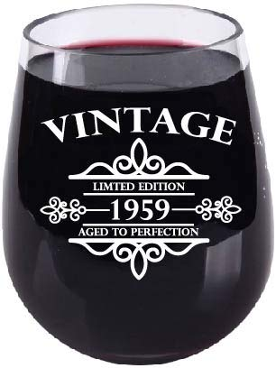 60th Birthday Gift for Her or Him - Aged To Perfection - 1959 Birthday - Stemless - Wine Bottle Label Design - Unbreakable Shatterproof Tritan Plastic 16oz for Him, Her, Mom or Dad Over the Hill