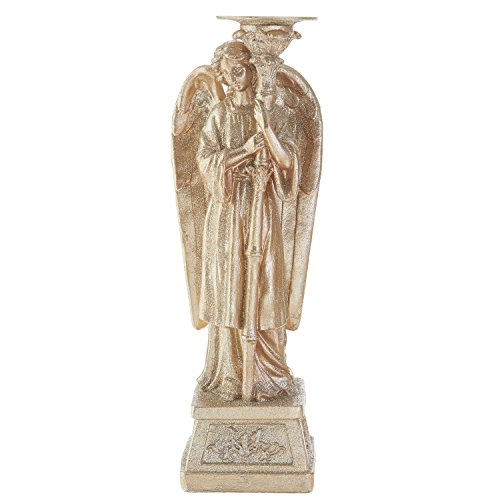 17.5 Inch Champagne Glitter Angel Candle Holder - Tabletop Holiday Decoration (Looks Right)