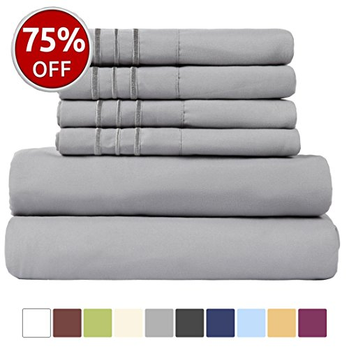 EASELAND 6-Pieces 1800 Thread Count Microfiber Bed Sheet Set-Wrinkle & Fade Resistant,Deep Pocket,Hypoallergenic Bedding set,King,Grey - Extra Deep Pocket Bed Sheets