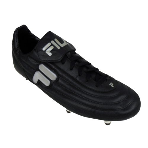 d95bb42079b Mens Fila Black Silver Soft Ground Football Boots Soccer Cleat Size UK 12