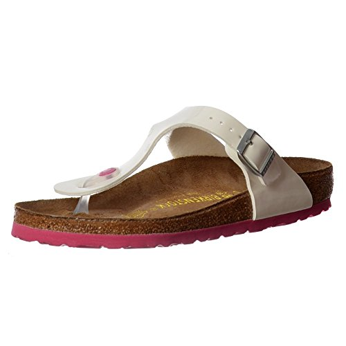 Birkenstock Classic Gizeh BirkoFlor -Standard Fitting Buckled Toe Post Thong Style - Flip Flop Sandal Ice Pearl Onyx UK3 - EU36 - US5 - AU4 White (Gizeh White Leather)
