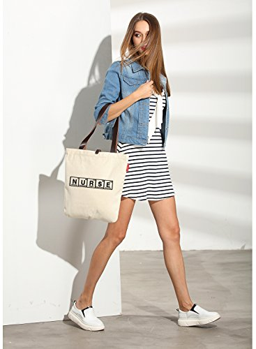 So'each Bolsa de tela y de playa, color natural (beige) - HBD-UK-20-BG color natural