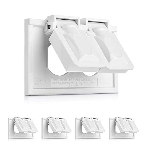 Cable Matters 5-Pack Weather Resistant Duplex Wall Plate with Flip Covers, Horizontal Outdoor Outlet Cover in White