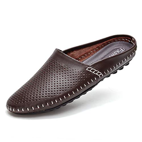 YiCeirnier Leather Clogs for Men Slipper Loafers Comfort Closed Toe Sandals Brown 8805-2/Zong-US11-45