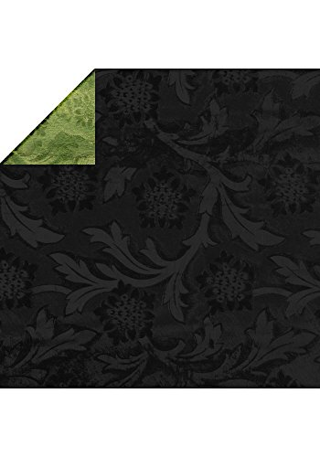 Embossed Wrapping Paper - Avalon Poly-Foil, 1 Roll 20 Inch x 30 Feet (Black)