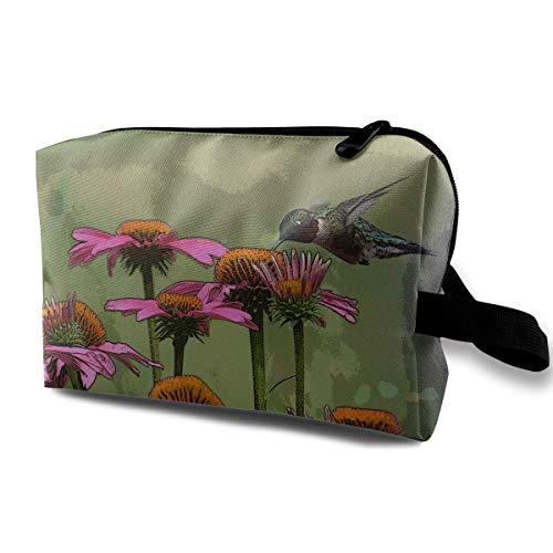 Coneflower Birdfeeder Plants Pink Multi-function Travel Makeup Toiletry Coin Bag Case ()