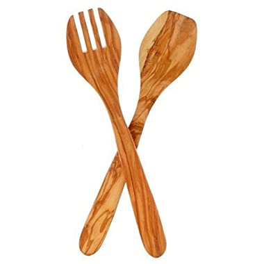 Eddington 50012  Italian Olive Wood Salad Server, Handcrafted in Europe, 2-Piece Set, 13-Inches