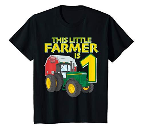 Kids 1 Year Old Green Farm Tractor Birthday Party Farmer 1st Gift T-Shirt (Birthday Invitation For 1 Year Old Boy)