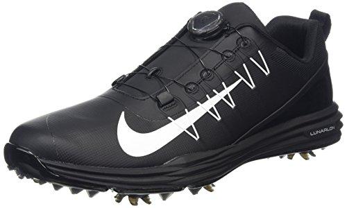 Nike Men's Lunar Command 2 BOA Golf Shoes, Black/White/Bl...