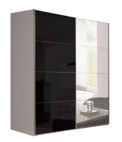 schwebetürenschrank schwarz spiegel