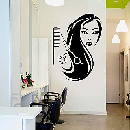 Fushoulu Salon De Coiffure Stickers Muraux Decoration Beauty Girl Cheveux Longs Ciseaux Peignes Salon Stickers Muraux Vinyle Diy Papier Peint Mural Amazon Fr Bricolage
