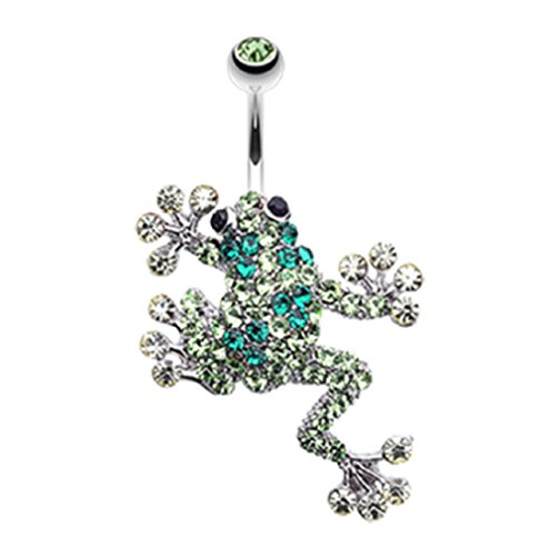 Freedom Fashion Sparkle Leaping Frog 316L Surgical Steel Belly Button Ring (Sold Individually)