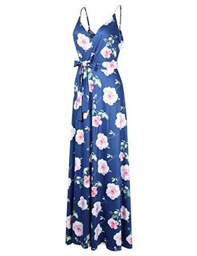 GlorySunshine Women Wrap V-Neck Strap Sleeveless Split Side Evening Dress Long Evening Gown Upgrade (L, -