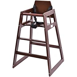 Costzon Baby High Chair Wooden Stool Infant Feeding Children Toddler Restaurant Natural (Brown)