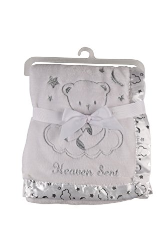 Heaven Sent Blanket with Printed Satin, White ()