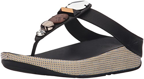 FitFlop Women's Jeweley Toe-Post Flip Flop, black, 5 M US by FitFlop