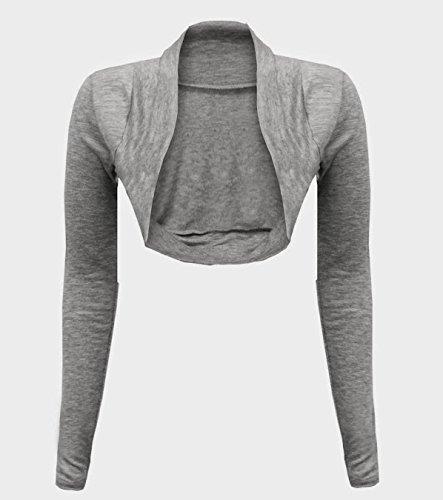 cexi Couture–Mujer Bolero Chaqueta de punto manga larga einf ärbig tamaños 36384042 gris claro