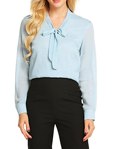 ACEVOG Women's Casual Blouses Bow Tie Neck Ladies Chiffon Office Shirt Tops,Blue Polka Dot,XXL