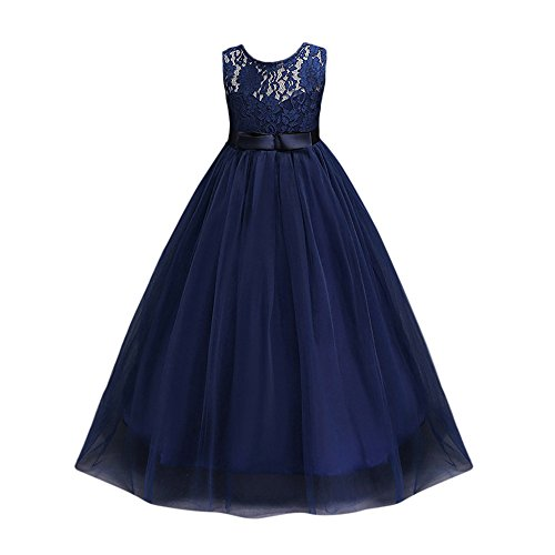 ❤️ Mealeaf ❤️ _ Girl Ball Gown Sleeveless Bow Belt Lace Tulle Flower Girl Pageant Wedding Party Long Dresses 5-12Years -