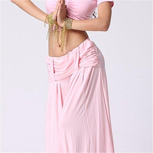 Womens Ladies harén danza del vientre pantalones con trabillas de cinturón Yoga Pilates Stretch práctica pantalones Rosado claro