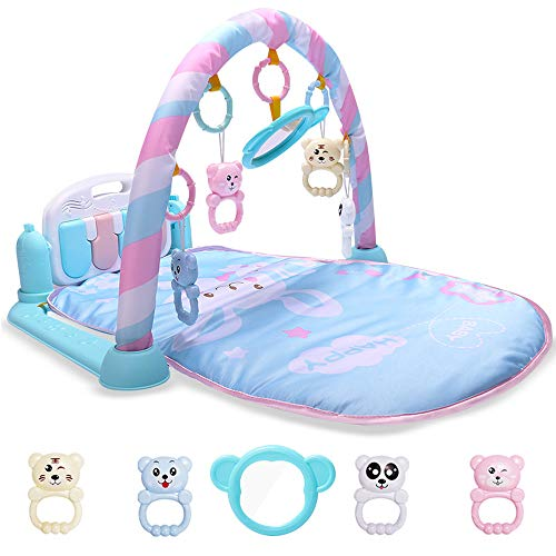 (CHAFIN DT Baby Ftness Rack Pedal Piano Infant Cartoon Cradle Toys Baby Gilrs&Boys Music Game Blanket Kids Crawling)